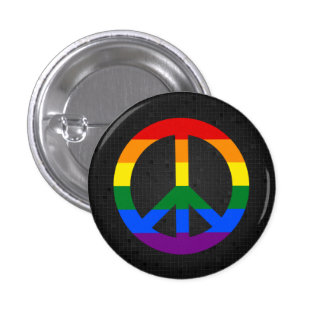 LGBT flag peace sign black button
