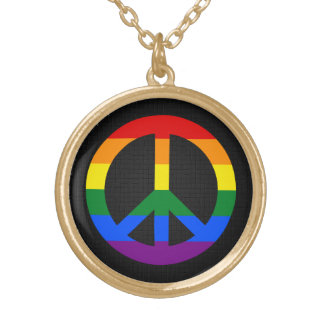 LGBT flag peace sign Necklace
