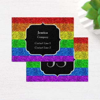 LGBT flag vibrant sparkles Monogram Business Card