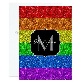 LGBT flag vibrant sparkles Monogram Invitation
