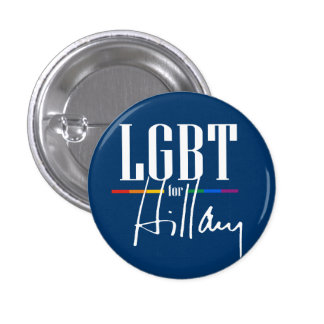 LGBT FOR HILLARY 1 INCH ROUND BUTTON