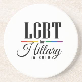 LGBT FOR HILLARY --.png Beverage Coasters