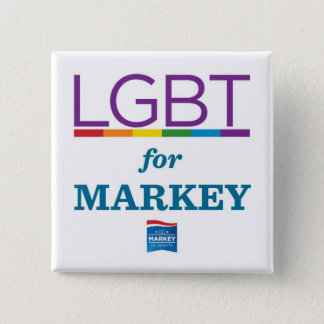 LGBT FOR MARKEY PINBACK BUTTON