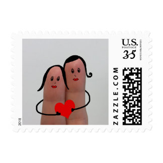 LGBT Funny Fingers in Love Valentine's Day Stamp
