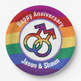LGBT Gay Pride Male Gender Symbol Paper Plate