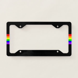 LGBT Gay Pride Party Rainbow Flag Pattern! black License Plate Frame