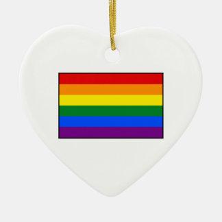 LGBT Gay Pride Rainbow Flag Stripe Double-Sided Heart Ceramic Christmas Ornament