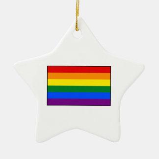 LGBT Gay Pride Rainbow Flag Stripe Double-Sided Star Ceramic Christmas Ornament