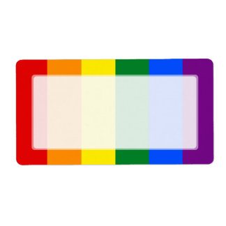 LGBT Gay Pride Rainbow Flag Stripe Label