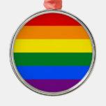 LGBT Gay Pride Rainbow Flag Stripe Round Metal Christmas Ornament