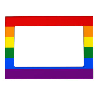 LGBT Gay Pride Rainbow Flag Stripe Picture Frame Magnets