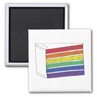 LGBT Gay Pride Rainbow Layer Wedding Cake Slice Magnet