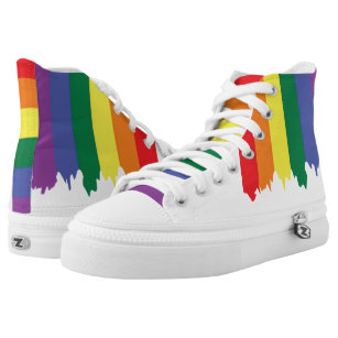 a29c40ac327a17 LGBT Gay Pride Rainbow Running Paint High-Top Sneakers