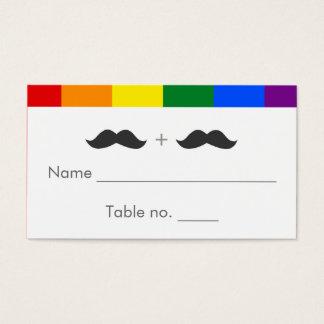 LGBT Gay Wedding Mustaches Rainbow Business Card