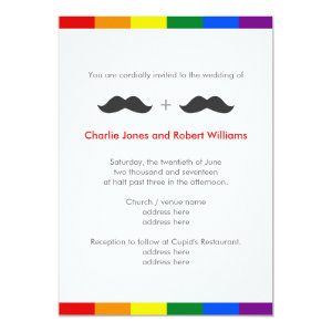 LGBT Gay Wedding Mustaches Rainbow Card