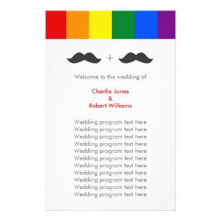LGBT Gay Wedding Mustaches Rainbow Flyer