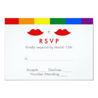 LGBT Lesbian Lips Rainbow Wedding 3.5x5 Paper Invitation Card