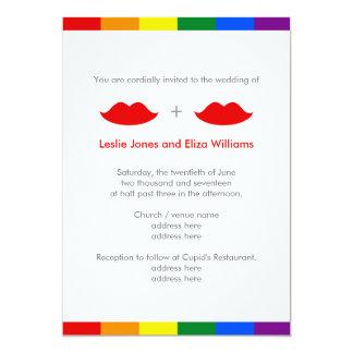 LGBT Lesbian Lips Rainbow Wedding 5x7 Paper Invitation Card