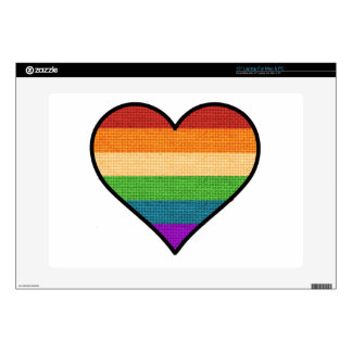 "LGBT Love is Love Rainbow Heart Decals For 15"" Laptops"