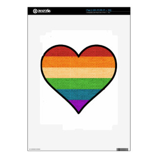 LGBT Love is Love Rainbow Heart Decals For iPad 2