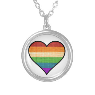 LGBT Love is Love Rainbow Heart Silver Plated Necklace