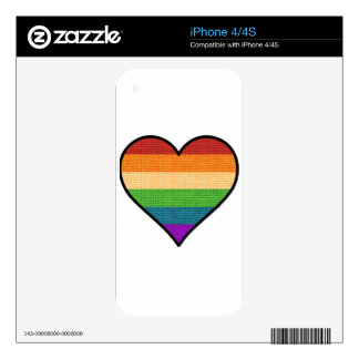 LGBT Love is Love Rainbow Heart Skins For The iPhone 4S