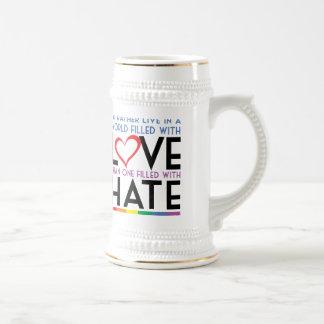 LGBT Love Over Hate 18 Oz Beer Stein