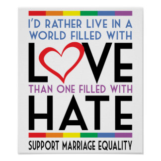 LGBT Love Over Hate Poster