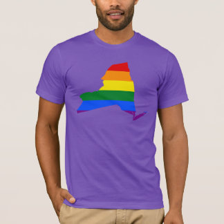LGBT New York, US state flag map T-Shirt