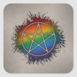 LGBT Pagan Pentacle Square Stickers