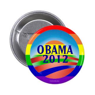 LGBT para el botón político del pinback de OBAMA 2 Pin Redondo De 2 Pulgadas