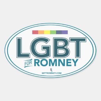 LGBT para Mitt Romney 2012 (pegatina oval) Pegatina Ovalada
