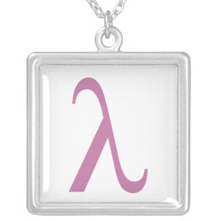 LGBT Pink Lamda Symbol Silver Plated Necklace
