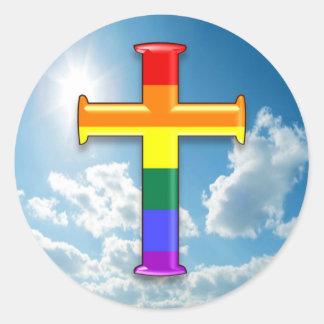 LGBT Pride Cross Classic Round Sticker