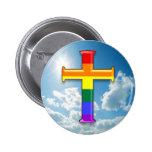 LGBT Pride Cross Pinback Button
