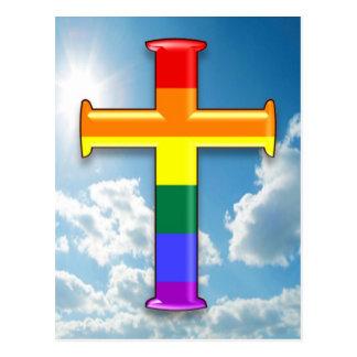 LGBT Pride Cross Postcard