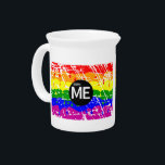 """LGBT Pride Flag Dripping Paint Born Me Drink Pitcher<br><div class=""""desc"""">The rainbow,  gay pride flag,  LGBT pride flag. Drawn in dripping paint style,  with a distressed finish. A symbol of lesbian,  gay,  bisexual,  and transgender (LGBT) pride,  this desIgn has a black circle in the center with the text BORN ME. LGBT &quot;rainbow flag&quot; &quot;born me&quot;</div>"""