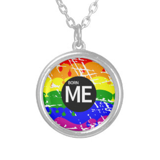 LGBT Pride Flag Dripping Paint Born Me Silver Plated Necklace