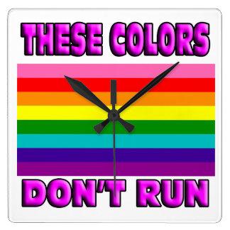 LGBT pride flag. Original 8 striped flag. Square Wall Clock