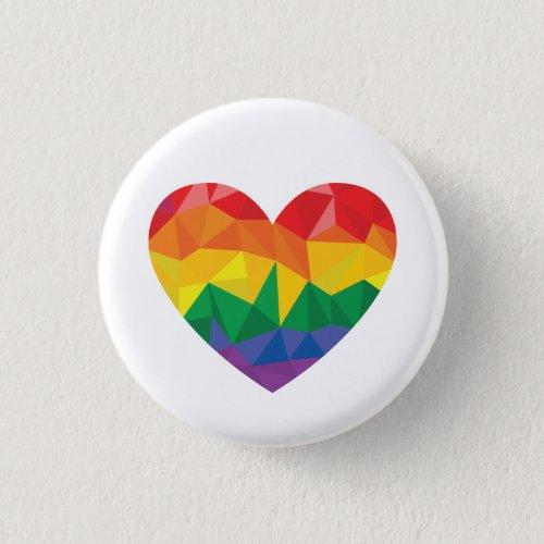 LGBT Pride Geometric Heart Rainbow Button