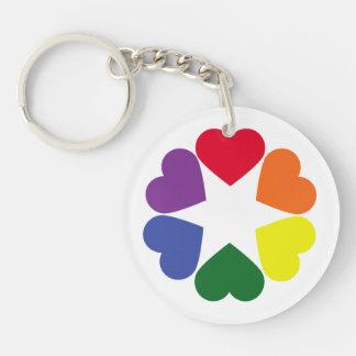 LGBT pride hearts Keychain