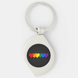 LGBT pride hearts Metal Keychain Keychain
