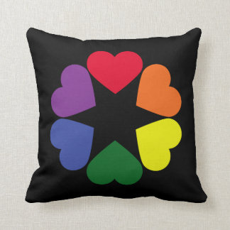 LGBT pride hearts Throw Pillow