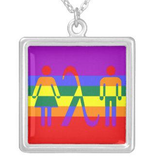 lgbt pride icon square pendant necklace
