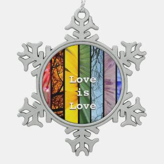 LGBT Pride Rainbow Symbol Rear View Mirror Hanger Snowflake Pewter Christmas Ornament