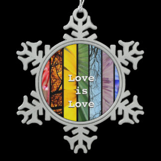LGBT Pride Rainbow Symbol Rear View Mirror Hanger Snowflake Pewter Christmas Ornament