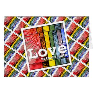 LGBT Pride Symbol Love Defeats Hate Nature Rainbow Card