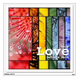 LGBT Pride Symbol Nature Rainbow Love Defeats Hate Wall Sticker