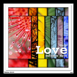 LGBT Pride Symbol Nature Rainbow Love Defeats Hate Wall Sticker