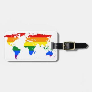 LGBT Pride World Map Customizable Luggage Tag